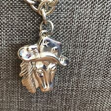 "Double Side Cowboy Hat Horse Head Necklace Size 20"" Silver Tone Chunky Chain EUC"
