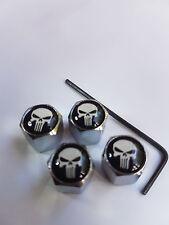 White Skull Car Tyre Air Valve Dust Caps Lockable Set of 4 Plus Allen Key