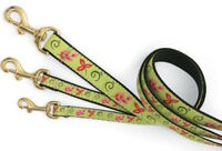 "Dog Puppy - Up Country - Design - Green Floral Dog Leash 6'L x 1"" W - USA"