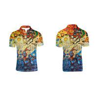 Men Fashion Work Shirts Stand Collar Summer Short Sleeve Top Golf Shirt L-3XL