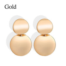 New Gold Silver Color Geometric Circle Metal Earrings Women Fashion Drop Earring