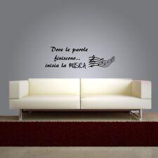 adesivo murale wall stickers frase musica pentagramma