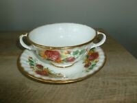 Bone China DOUBLE HANDLED Teacup with Saucer - Gold Trim - Free Shipping!