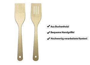 PINI Pfannenwender Set 30 cm Buche Holzschaber Pfannenheber Bratenwender