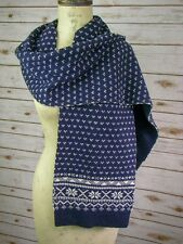 Brooks Brothers Knit Navy Blue Fair Isles Neck Scarf Unisex