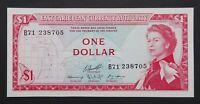 East Caribbean 1 Dollar Banknote~1965 Elizabeth II~P#13f~EF+~S/N: B71 238705