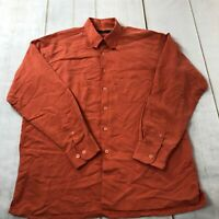 Bugatchi Uomo Mens Long Sleeve Button Down Casual Red Shirt Size Large