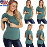 Women Maternity Clothes Short-Sleeve Breastfeeding Tops Nursing T-shirt Pregnant