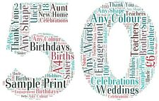 Personalised 50th birthday number picture. wordart, 50th word cloud