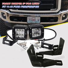 "Fit Ford F250/F350/F450 2x 3"" Cube Fog LED Light Pod+Hidden Bumper Mount Bracket"