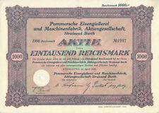 Stralsund Barth Pommersche Eisengießerei Aktie 1000 RM 1929