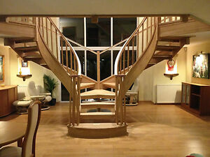 Bespoke open oak tread staircase design service , made to measure.