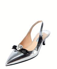 NEW Prada Women's Leather Slingback Metallic Silver & Black Kitten Pumps, Sz 9