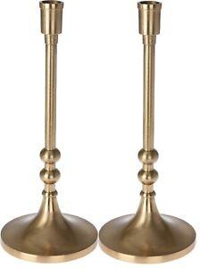 31cm Tall Gold Candlesticks Candle Holder Elegant Design Set Of 2 Wide Base