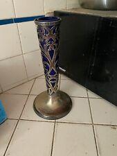 Antique  Silver Overlay  Trumpet Vase with Cobalt Blue Insert
