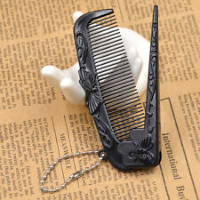 Butterfly Pattern Hair Comb Travel Portable Folded Plastic Fine Tooth Comb Black