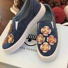 Chiara Ferragni NIB Denim Blue Platform Sneaker Size 40 Flower Embellished