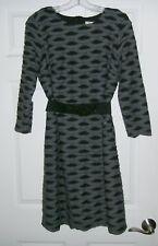 ECI New York Woman stretch straight KNIT Dress BLACK GRAY size 10