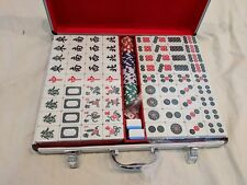 BLUE Chinese&American 144 Tiles Mah Jong Set With Aluminium Travel Case