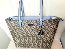DKNY NEW MEDIUM TOWN & COUNTRY LOGO TOTE BAG WITH CHARM