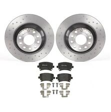 Brembo Xtra Drilled Rear Brake Disc 302 mm Rotors Low-Met Pads Kit for Audi A6
