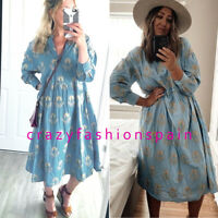 ZARA WOMAN NEW SS20 SALE! BLUE VOLUMINOUS EMBROIDERED DRESS REF: 4786/055