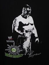 L black T Shirt STEVE & BARRY'S wwe REY MYSTERIO mask FIGHT win TV tights ARENA