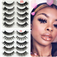 5Pairs 3D Faux Mink Hair False Eyelashes Wispies Long Cross Lashes Eye Makeup BN