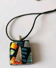 Dichroic Glass Pendant Necklace Black Blue Gold & Silver