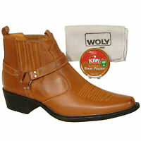 Mens New Tan Brown Western / Cowboy Ankle Boots With Shoe Polish and Cloth