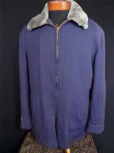 VERY RARE VINTAGE 1940'S-1950'S HEAVY LONG DARK BLUE GABARDINE JACKET SZ L-XL