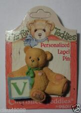 "CHERISHED TEDDIES  ""PERSONALIZED - LAPEL PIN LETTER  'V'""  203297V  MINT"