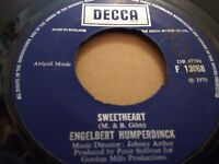 "ENGELBERT HUMPERDINCK "" SWEETHEART "" 7"" SINGLE 1970 VERY GOOD+ DECCA"