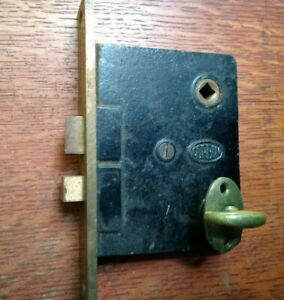 Antique Brass Door Mortise Lock c1885 by Corbin with Privacy Thumb Turn