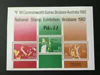 Australian Stamps 1982-12th Commonwealth Games Brisbane numbered Mini Sheet MNH