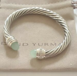 David Yurman 925 Silver 7mm Classic W/ Chalcedony & Diamond Bracelet Medium