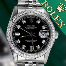 8+2 Diamond Accent Dial Rolex 36mm Datejust Black Stainless Steel Jubilee Watch