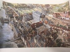 """Set Of 4 Old London Reconstructed By Peter Jackson 21""""x13.25"""" Prints"""
