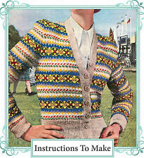 Vintage Knitting Pattern-How to make a 1940s fair isle design ladies cardigan