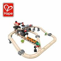 Hape Crane and Cargo Train Set | Wooden Railway Toy Set with Magnetic Crane, ...