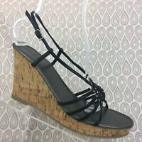 Banana Republic Wedge Sandals Size 10 Women's Black Strappy Cork High Heels S303