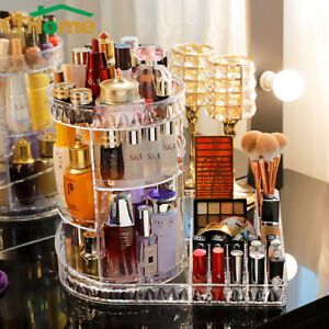 Large Makeup Organizer 360Degree Rotating Cosmetic Storage Display Stand Acrylic