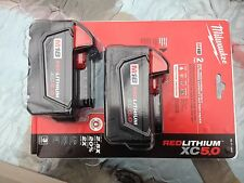 (2) MILWAUKEE 48-11-1850 18V RED LITHIUM LI-ION BATTERY M18B5X in plastic raper