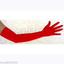 "23"" RED LONG STRETCH SATIN BRIDAL WEDDING EVENING GOWN PROM FORMAL OPERA GLOVES"