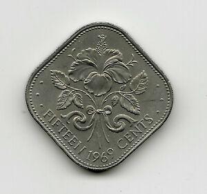 World Coins - Bahamas 15 Cents 1969 Coin KM# 5 ; Lot-B2