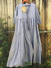 Shabby MAGNOLIA flower DRESS pearl buttons VICTORIAN Blue Prairie M L XL