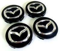 Mazda 4x 56mm Nabendeckel Felgendeckel Nabenkappe Schwarz Black