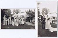 Wedding Bride Groom & Guests - 2x Vintage Photographs c1935