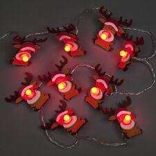 Scatola x 10 Feltro Renne LED Batteria Luci di Natale-DECORAZIONE Novità Rudolph