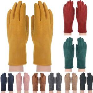 Women Ladies Winter Warm Soft Suede Fleece Lined Thermal Knit Gloves
